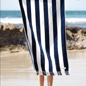 Business & Pleasure Navy White Striped Beach Towel
